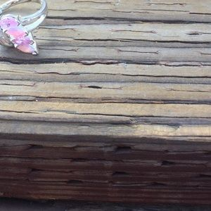 Sterling Silver Pink Opalesque and CZ Ring
